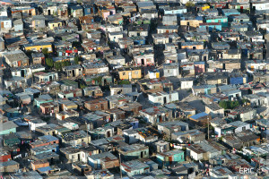 Cape Town An aerial view of a densely populated housing settlement. shacks informal housing  Photo © Eric Miller emiller@iafrica.com
